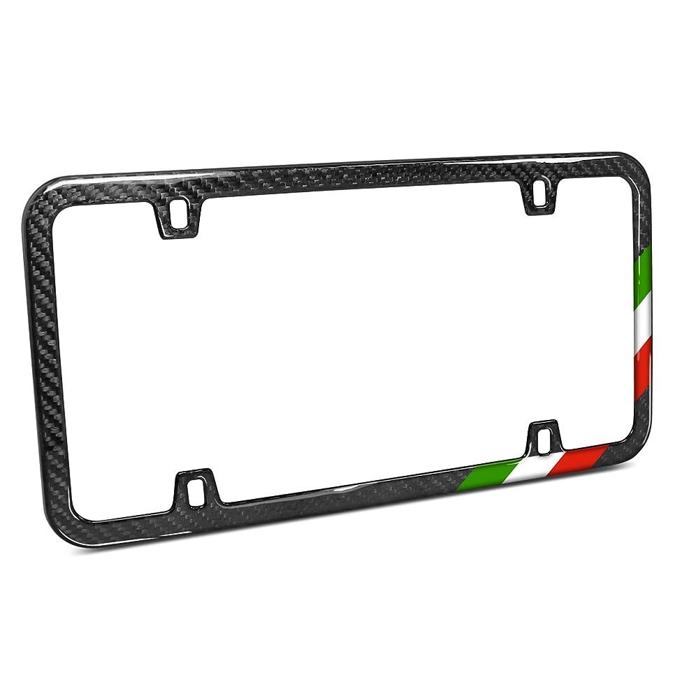 Slim Real Black Carbon Fiber Italy Flag Off-center in Sports Stripe License Plate Frame