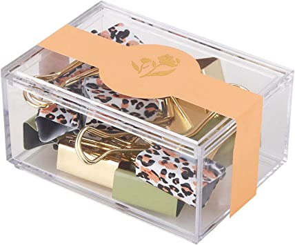 Gold Blue Binder Clips and Paper Clips Set 3-in-1 Boxed for Office School Supplies Teachers Classroom Daily use