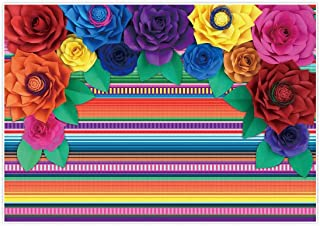 Allenjoy 7x5ft Mexican Fiesta Theme Backdrop for Photography Colorful Paper Flowers Decor Festival Birthday Party Decor Cinco De Mayo Carnival Banner Decorations Background Photo Studio Booth Supplies