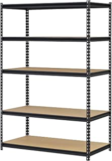 EDSAL URWM184872BK Black Steel Storage Rack, 5 Adjustable Shelves, 4000 lb. Capacity, 72