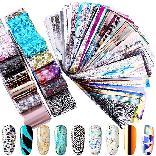 Duufin 200 Blatt Transferfolie Nägel Set in Verschiedenen Designs, Nailart Folie Transfer nägelfolien, für DIY Nägel Dekoration