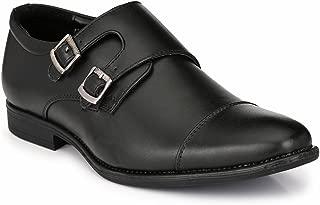 Levanse Black Tan Top Grain Monk Trap Leather Formal Shoes for Men/Boys
