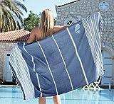 ZusenZomer Fouta   Toalla hammam 'Biarritz'   Toalla de baño Liviana   En Negro con Rayas de Color Turquesa  100x190 cm   100% algodón diseño Exclusivo (Azul Oscuro y Blanco)