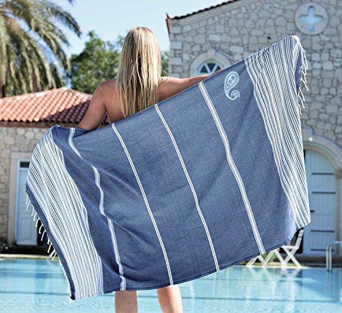 ZusenZomer Fouta Hamamtuch XL Biarritz 100x190-100% Baumwolle - Strandtuch Saunatuch Hamam Badetuch Leicht und Dünn - Fairtrade Hamamtücher (Dunkelblau Weiß)