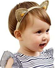 Holy KT 100% Handmade Hand Embroidery Lace Cat Ears Baby Toddler Girl Headbands Cute Ears Elastic Hair Clip Baby Hair Accessories
