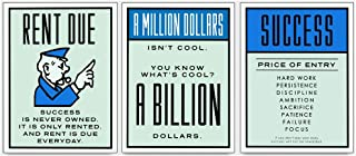 FireDeer Alec Monopoly Success Is Never Owned Amillion Dollars Rent Due 3 Pieces Motivational Quote Canvas Painting Print Poster Wall Picture For Office Room Home Decoration Unframe (24x32inchx3)