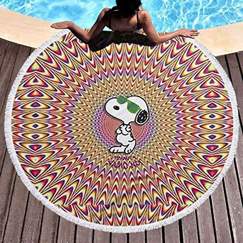 NULLYTG - Toalla de playa redonda grande Snoopy Cool toalla de playa con borlas ultra suave, superabsorbente de agua, multiusos, manta de playa de 59 pulgadas
