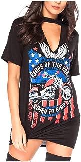 Winwinus Women Patriotic American Flag Bodycon Pencil Dress Top Blouses