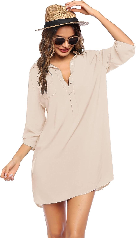 SHESHOW Women's Swimsuit Cover Up Loose Button Down Beachwear Lightweight Beach Shirt Dress