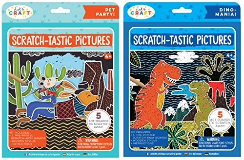 Bright Stripes Let's Craft Scratch-Tastic Scratch Art Pictures 2 Pack Bundle Dino Mania & Pet Party 2 Pack of Scratch and Reveal Scratch Art for Kids Activites