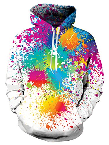 NEWISTAR Unisex Lange Ärmel Funny Christmas Patterned Sweatshirts Kapuzenpullover Men Colourful HD 3D Printed Pullover