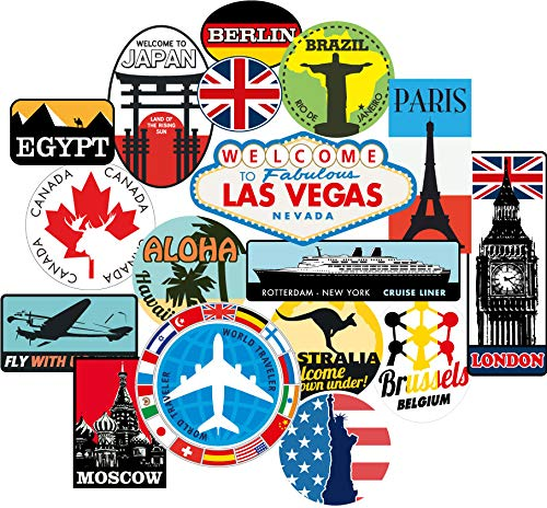 Luggage Stickers 17pcs Suitcase Patches Vintage Travel Labels Retro Vintage Graffiti iPhone car stickerbomb Style Vinyl Decals Door Skateboard Cafe