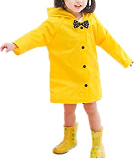 Age 2~10 Kids Hooded Button Down Jacket Rain Jacket Raincoat with Bow Cover Long Rainwear