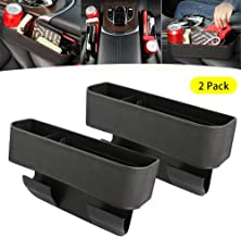 2PCS Car Seat Gap Storage Box Seat Gap Filler with Cup Holder,Premium PU Leather Console Side Filler Organizer Pocket for Car Accessories Interior, Holding Phone, Wallet, Cup Holder Black