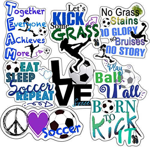 Soccer Stickers - Perfect Soccer Gifts for Girls Or Boys - Waterproof, Durable 100% Vinyl - Anywhere You Need Soccer Team Stickers for Water Bottles, Laptop, Car Decal, Party Giveaways