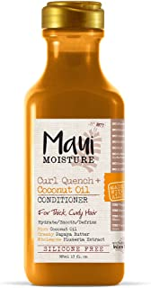 Maui Moisture Curl Quench + Coconut Oil Conditioner, 13 Ounce, Silicone Free Conditioner Ideal for Thick, Curly Hair, Defines, Detangles & Defrizzes Hair