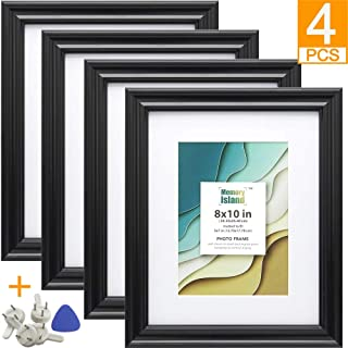 Memory Island, 8x10 Picture Frames with 5x7 Mat, Set of 4 Pack in Black, Vertical or Horizontal Display for Wall or Tabletop. Glass Fronts Photo Frame.