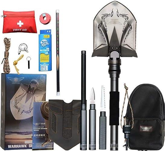 AA-SS-Folding Shovel Pelle Pliante Militaire Pelle Survie Pelle Pliante, Kit de Pelle Militaire portatif Multifonctionnel pour Le Camping randonnée en Plein air Advent Compact Compact