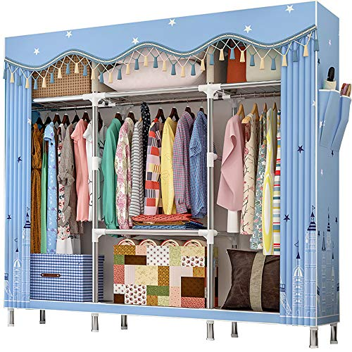 ZZBIQS Extra Large Fabric Wardrobe with Compartments and 2 Side Pockets, Textile Wardrobe Cupboard Camping Cabinet with Clothes Rail for Clothing, Dressing Room, Bedroom (Dream Lock)