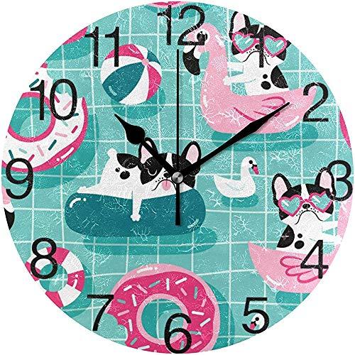 sam-shop Netter Hund in der Pool-Entwurfs-runden Wanduhr, stilles Nicht tickendes Ölgemälde dekorativ für Innenministerium-Schuluhr-Kunst