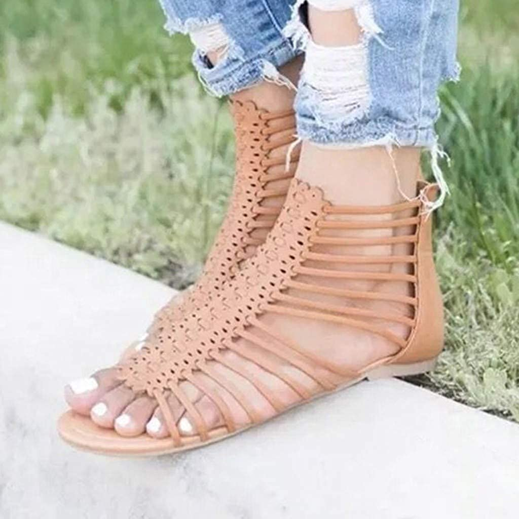 Memela Clearance sale Ladies Ankle Booties Stiletto Summer Mesh Pointed Toe High Heels Single Zip Shoes Sandals