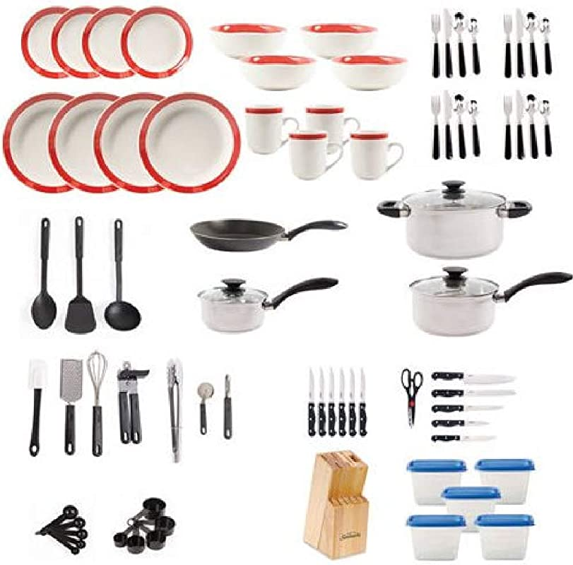 Gibson Home Essential Total Kitchen 83 Piece Combo Set Red