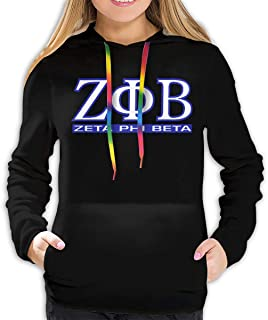 Zeta Phi Beta Logo Hoodies Womens Casual Solid Color Hooded Sweatshirts