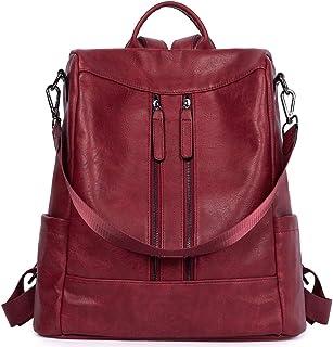 Rucksack Damen Anti Diebstahl Rucksack Damenrucksack aus Leder Rucksackhandtasche Tagesrucksack für Frauen Mädchen, Rot