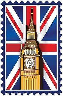 London England Big Ben Union Jack British Flag Stamp Cool Wall Decor Art Print Poster 24x36