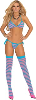 Women's Striped String Bra, Tie Side Thong And Stockings Lingerie Set