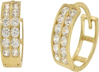 Mia Diamonds 14k Yellow Gold Madi K Round Aqua 6mm Post Earrings