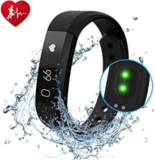 he lineee Fitness Tracker, Activity Tracker Watch with Heart Rate Monitor, Waterproof Smart Fitness Band with Step Counter, Calorie Counter, Child Female and Male Pedometer Watch …