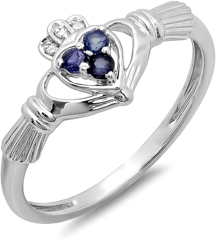 Dazzlingrock Collection 10K Gold White Diamond & Blue Sapphire Bridal Promise Irish Love Claddagh Heart Shape Ring