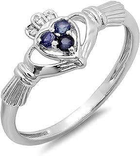 10K Gold White Diamond & Blue Sapphire Bridal Promise Irish Love Claddagh Heart Shape Ring
