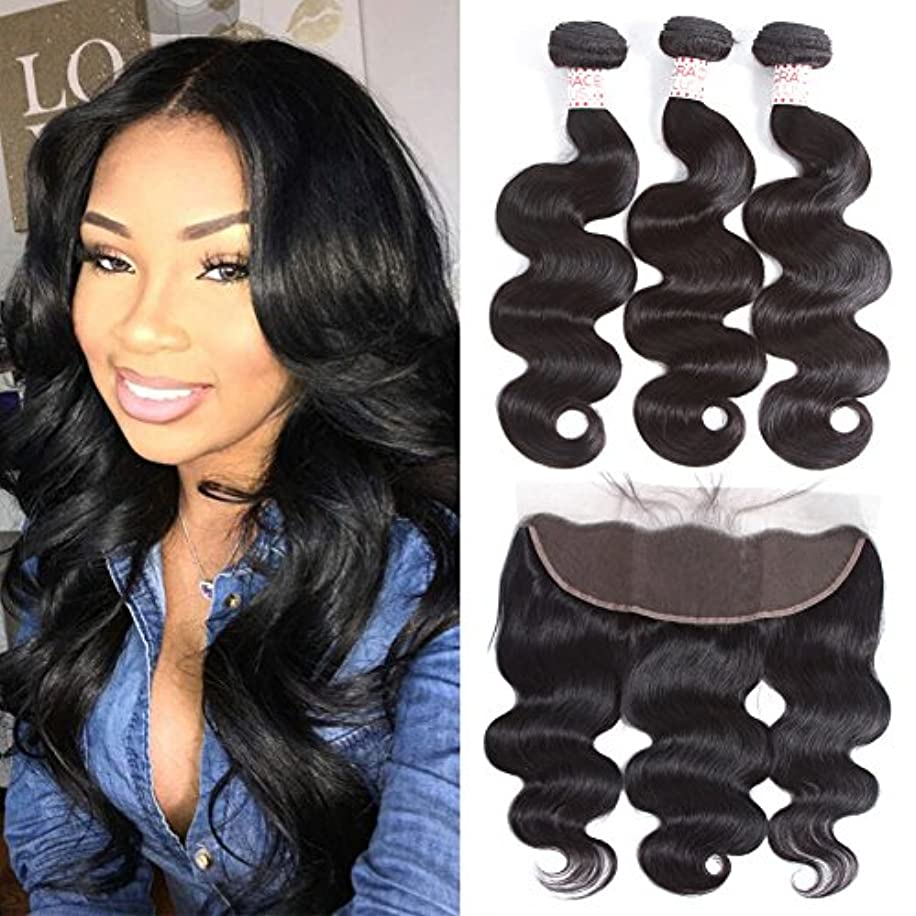Grace Plus Hair Brazilian Body Wave 3 Bundles with Frontal Ear to Ear Lace Frontal Closure with Bundles Brazilian Hair with Closure Human Hair Extensions Lace Frontal with Baby Hair (8 10 12+8)