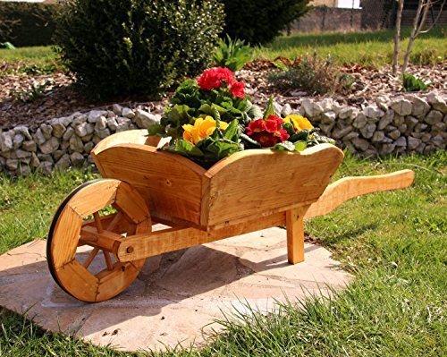 Pflanzschubkarre Blumenkarre Schubkarre aus Holz behandelt (groß)