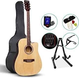 41 Inch Electric Acoustic Guitar Wooden Folk Classical D Shape Full Size Cutaway Natural Strings Carry Bag Tuner Capo Shoulder Strap Picks ALPHA