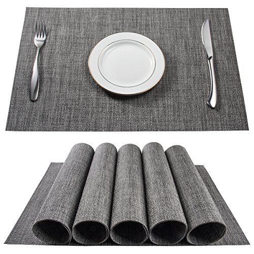 BETEAM Placemats, Stain Resistant Anti-Skid Washable PVC Table Mats Woven Vinyl Placemats, Set of 6 (Grey)