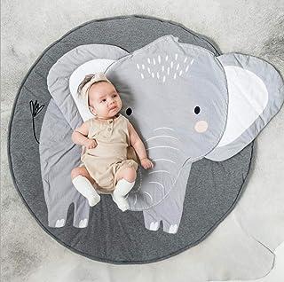 HALAWAKA Baby rund lekdyna krypmatta krypande kudde baby krypande tecknad sovmattor, 100 % bomull barngolv lekmatta för ba...