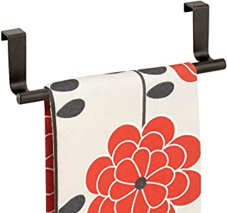 mDesign Decorative Metal Kitchen Over Cabinet Towel Bar - Hang on Inside or Outside of Doors, Storage and Display Rack for Hand, Dish, and Tea Towels - Bronze