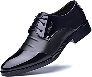 Yajie-shoes store, Men's Formal Business Shoes Smooth PU Leather Splice Upper Lace Up Breathable Lined Oxfords (Color : Black, Size : 5.5 UK)