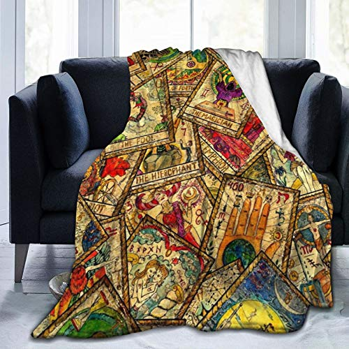 DPQZ Throw Blanket Colorful Tarot Cards Vintage Super Soft Flannel Fleece Cozy Plush Blankets For Sofa Chair Bed Office Travelling Camping 60'X50'