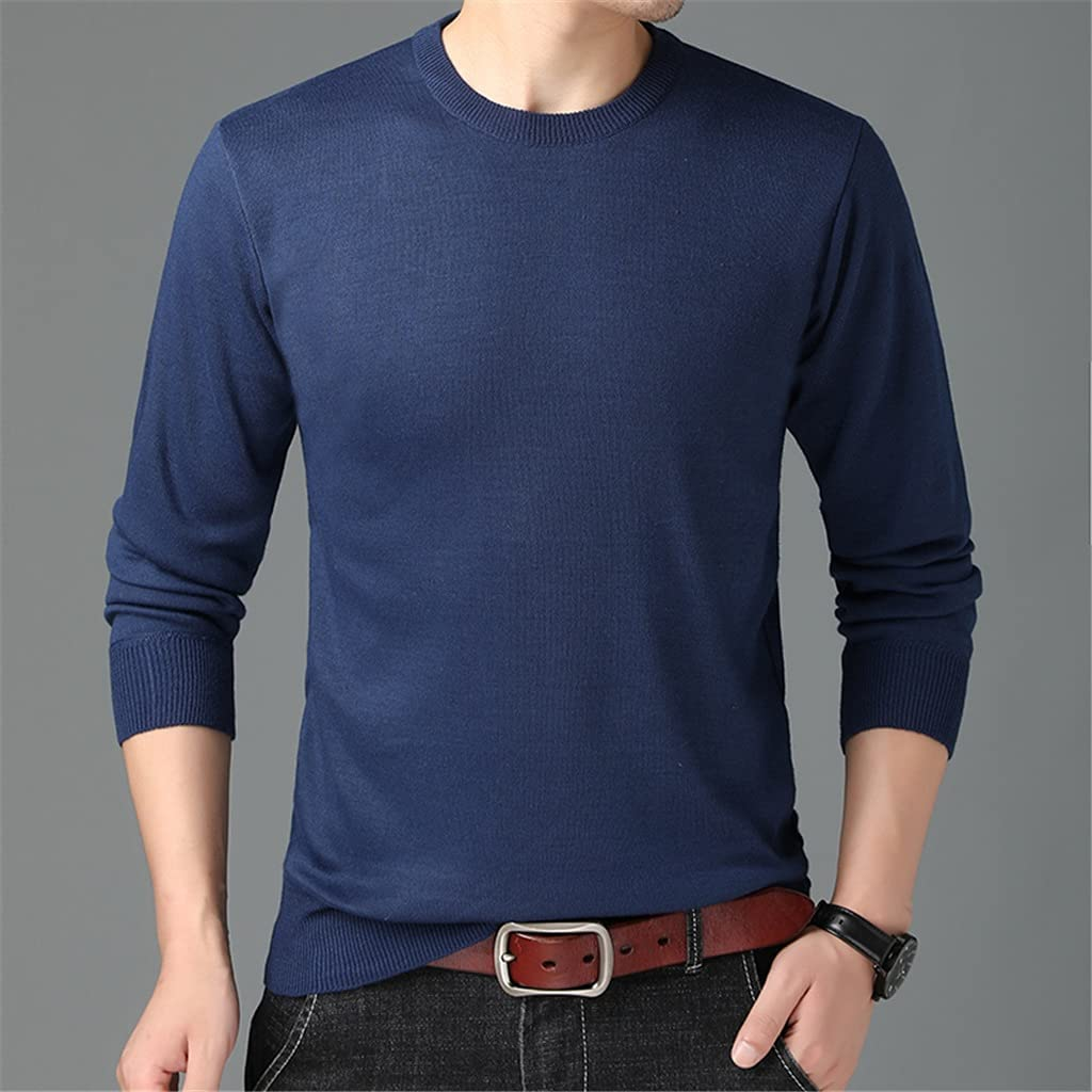 TJLSS Autum Mens Casual Pullover Winter Knit Sweaters Crew Neck Jumper Men Clothing (Color : Blue, Size : L Code)