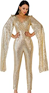 Women Sexy deep v Angel Wings Sequin Glitter Evening Party Playsuit
