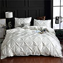 Erosebridal White Pinch Pleated Duvet Cover Set Full Size Silk Like Satin Pintuck Bedding Set with Zipper Ruffle Design Lu...