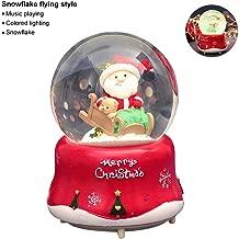 Christmas Snow Globe Music Box, Santa Claus Crystal Ball Snowflakes Rotating Music Box, Creative Christmas Home Decor Ornament Gifts for Family Friends Children