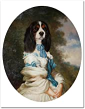 SDFSD Vintage Art Poster Abstract Dog Pet Animal Retro Nostalgia Gentlewoman Composite Picture Pintura al óleo Lienzo de Pared Decoración para el hogar 60 * 80cm