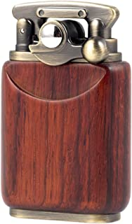 Rosewood Wooden Case Antique Type Soft Flame Rocker Arm Petrol Oil Lighter