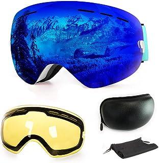 comprar comparacion WLZP Gafas de esquí antiniebla con protección UV para Snowboard, esquí, Skating y Otros Deportes de Nieve, con Lentes esfé...