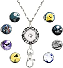 GDEE CUSTOM Womens Office Lanyard ID Badges Holder Necklace with 8pcs Image Glass Snap Charms Jewelry Pendant Clip Large